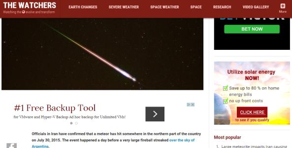 iran meteor